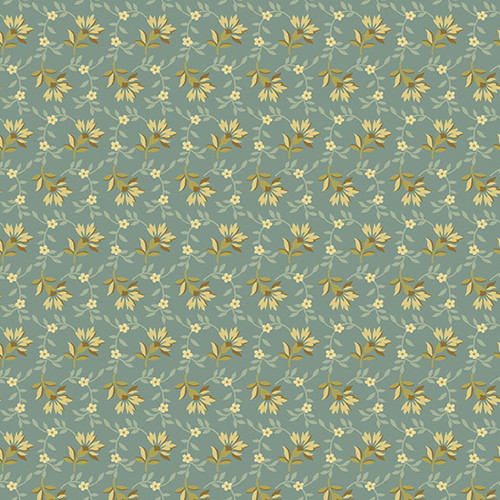 Lazy Dazy in Dusty blue from Secret Stash's Warm Tones Collection by Laundry Basket Quilts for Andover Fabrics. 100% Premium Quilting Cotton.
