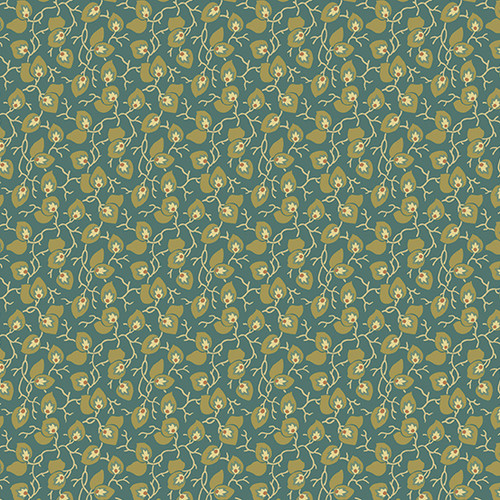 Leaf and Vine in Evergreen from Secret Stash's Earth Tones Collection by Laundry Basket Quilts for Andover Fabrics. 100% Premium Quilting Cotton.