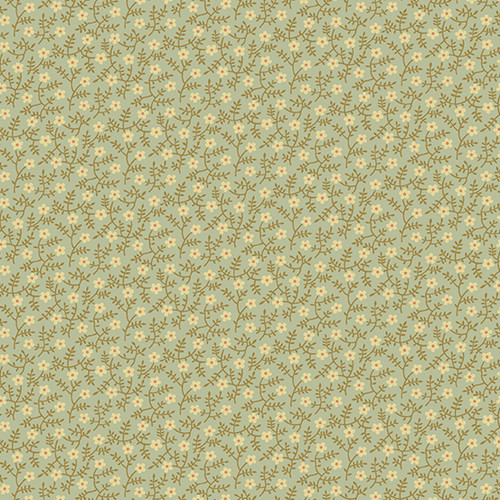 Primrose in Blue Sage from Secret Stash's Earth Tones Collection by Laundry Basket Quilts for Andover Fabrics. 100% Premium Quilting Cotton.