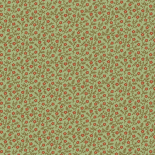 Primrose in Thyme from Secret Stash's Earth Tones Collection by Laundry Basket Quilts for Andover Fabrics. 100% Premium Quilting Cotton.