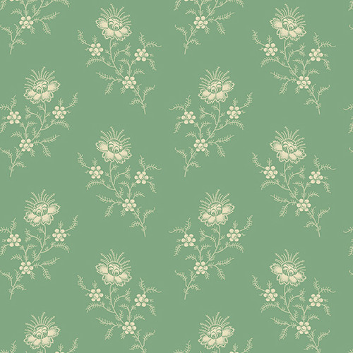 Chrysanthemum in Peppermint from Secret Stash's Earth Tones Collection by Laundry Basket Quilts for Andover Fabrics. 100% Premium Quilting Cotton.