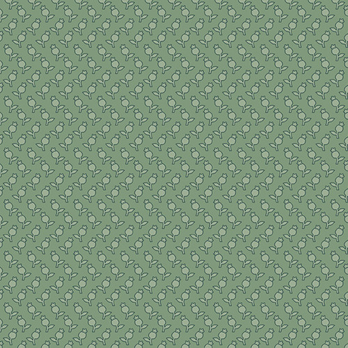 Tulips in Fern from Secret Stash's Earth Tones Collection by Laundry Basket Quilts for Andover Fabrics. 100% Premium Quilting Cotton.