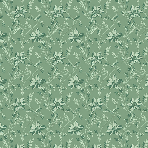 Buds and Vines in Celadon from Secret Stash's Earth Tones Collection by Laundry Basket Quilts for Andover Fabrics. 100% Premium Quilting Cotton.