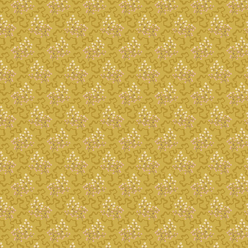 Elderberry in Ochre from Secret Stash's Earth Tones Collection by Laundry Basket Quilts for Andover Fabrics. 100% Premium Quilting Cotton.