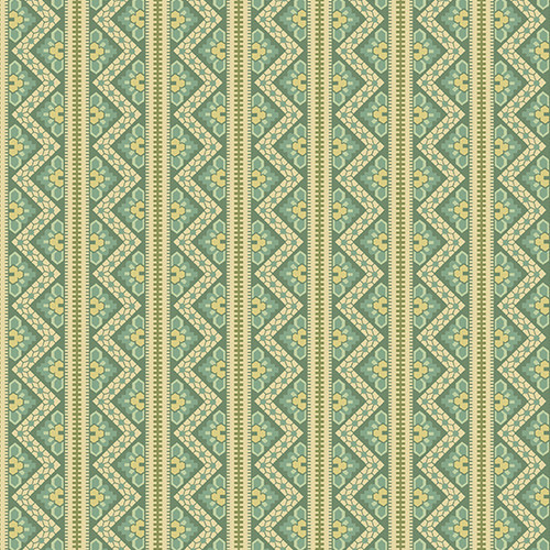Chevron in Verdigris from Secret Stash's Earth Tones Collection by Laundry Basket Quilts for Andover Fabrics. 100% Premium Quilting Cotton.