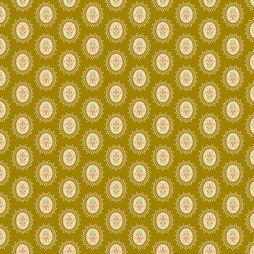Medallion in Brass from Secret Stash's Earth Tones Collection by Laundry Basket Quilts for Andover Fabrics. 100% Premium Quilting Cotton.
