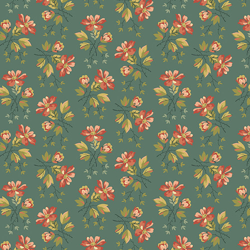 Wildflower in Juniper Berries from Secret Stash's Earth Tones Collection by Laundry Basket Quilts for Andover Fabrics. 100% Premium Quilting Cotton.