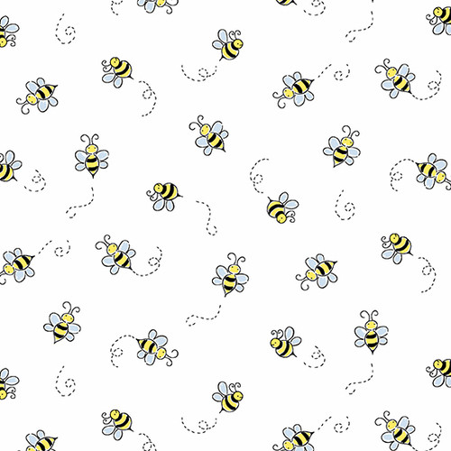 Bumble Bee in White for Andover Fabrics.