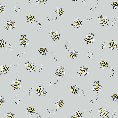 Bumble Bee in Light Grey for Andover Fabrics.