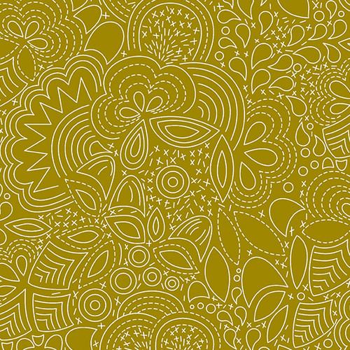 Century Prints Hopscotch Stitched in Brass by Alison Glass