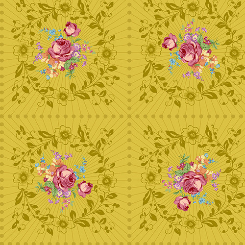 Wreath in Mustard  from Nonna by Giucy Giuce for Andover Fabrics.