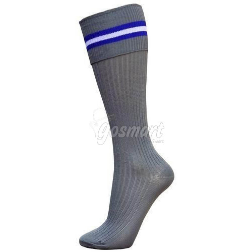 Grey Body with Royal Blue, White, Royal Blue Stripes Scholar School Socks from Gosmart