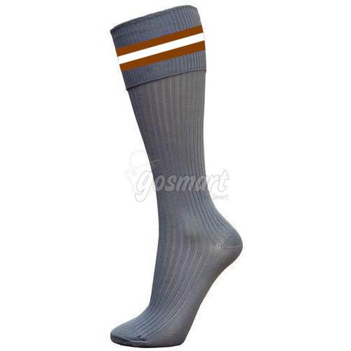 Grey Body with Brown/White/Brown Stripes School Socks from Gosmart