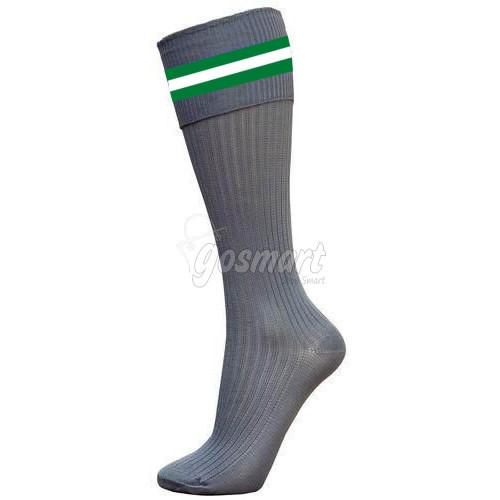 Grey Body with Green/White/Green Stripes School Socks from Gosmart
