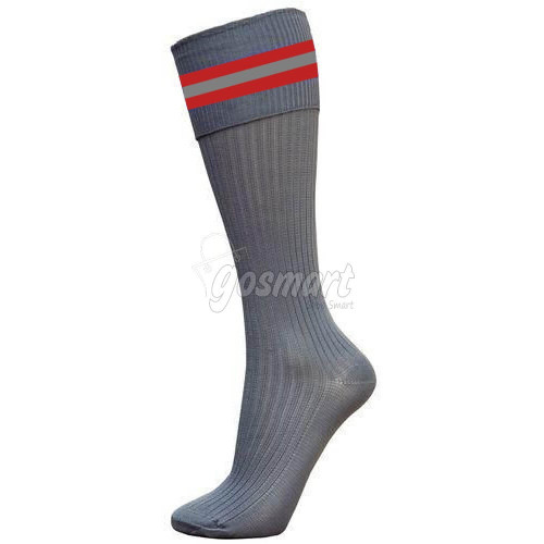 Grey Body with Maroon/Grey/Maroon Stripes School Socks from Gosmart