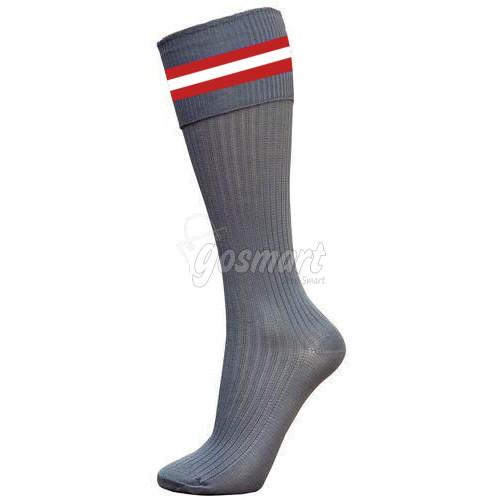 Grey Body with Maroon/White/Maroon Stripes School Socks from Gosmart