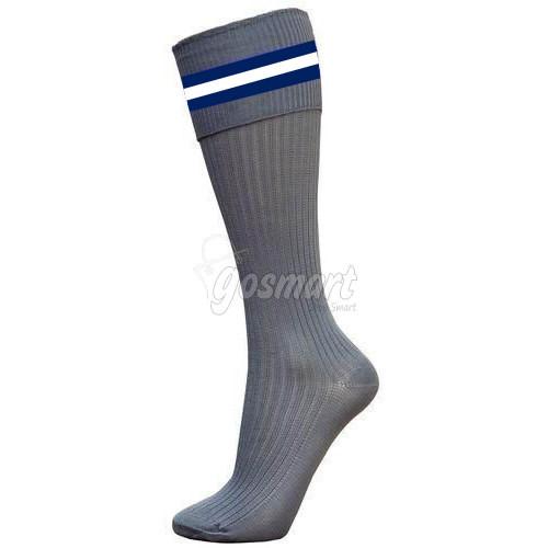 Grey Body with Navy Blue/White/Navy Blue Stripes School Socks from Gosmart