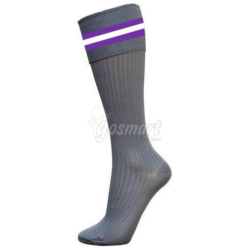 Grey Body with Purple/White/Purple Stripes School Socks from Gosmart