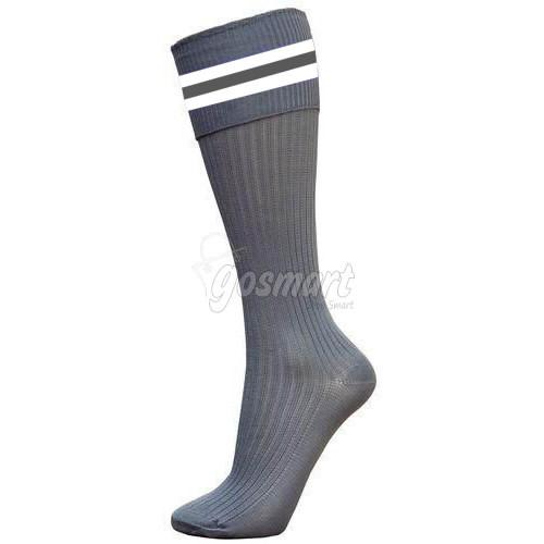 Grey Body with White/Grey/White Stripes School Socks from Gosmart
