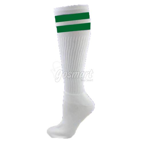 White Body with Green/White/Green Stripes School Socks from Gosmart