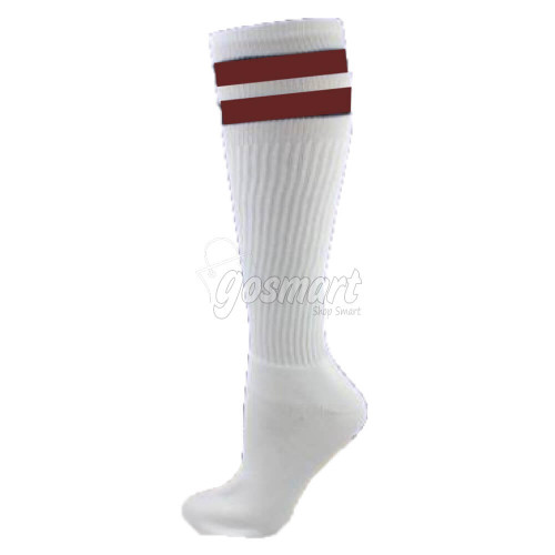 White Body with Brown/White/Brown Stripes School Socks from Gosmart