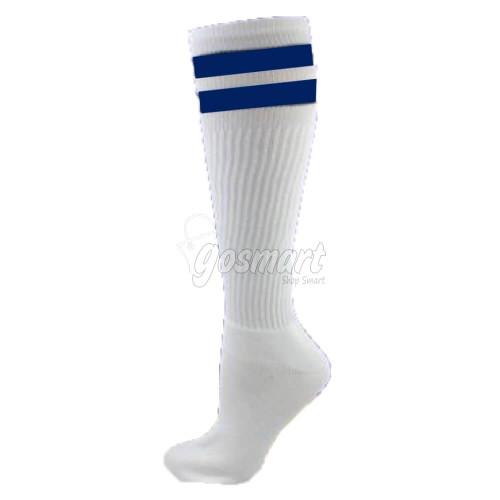 White Body with Navy Blue/White/Navy Blue Stripes School Socks from Gosmart