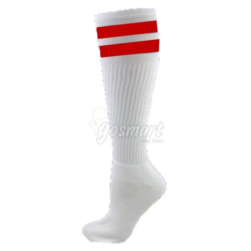 White Body with Maroon/White/Maroon Stripes School Socks from Gosmart