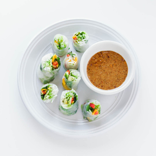 Veggie Spring Rolls with Spicy Almond Butter Sauce