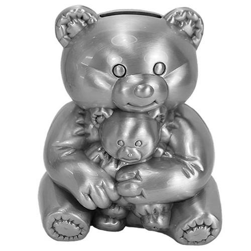 Money bank bear holding a baby bear pewter finish
