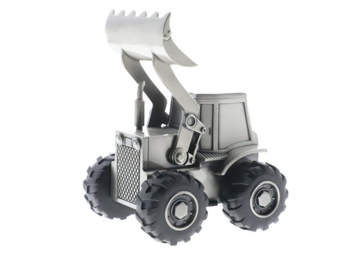 Money bank front loader tractor shape mobile moving parts pewter finish