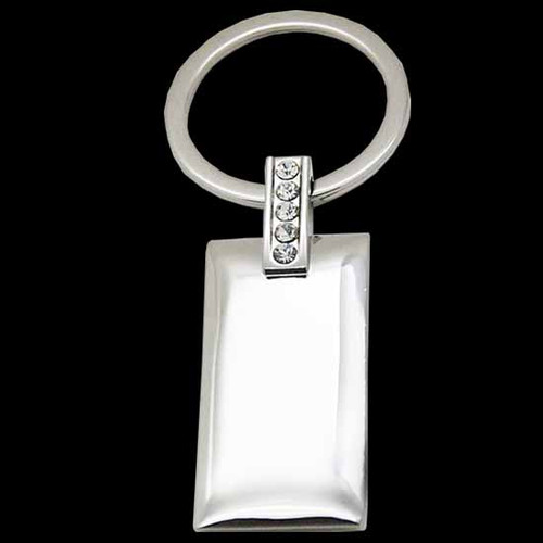 Rectangle keychain with crystal design