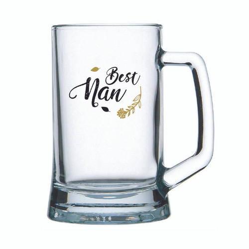Best Nan Beer mug glass with Best Nan in Black or Black Gold decal on glass 500ml