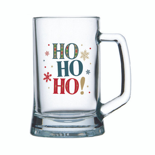 Glass beer mug with Eat drink & be Merry or Ho Ho Ho in Black decal on glass beer mug holds 500ml