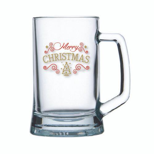 Marry Christmas Beer mug glass with Marry Christmas themed Red and Gold decal on Beer Mug glass holds 500ml