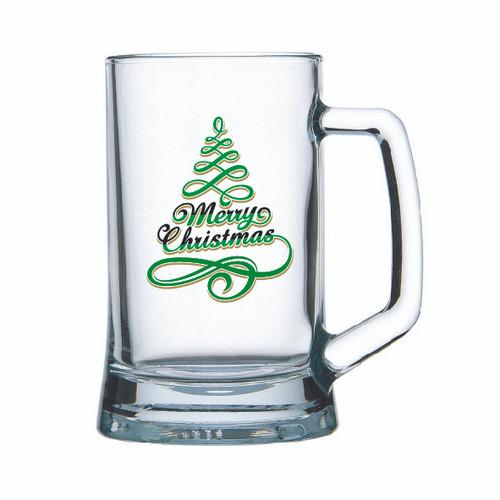 Marry Christmas Beer mug glass with Marry Christmas themed Black Gold or Green black etc decal on Beer Mug glass holds 500ml