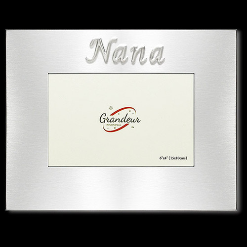 Pop Mum Dad or Nana silver metal photo frame with metal enamel look embossed sticker to choose from Pop Mum Dad or Nana holds 4x6 inch picture