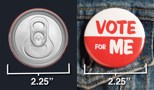 button sizes - 2.25 inch button