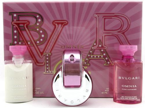 Bvlgari Omnia Pink Sapphire 1.35 oz EDT Spray + 1.35 oz B/Lot & Sh/Gel.New  SET