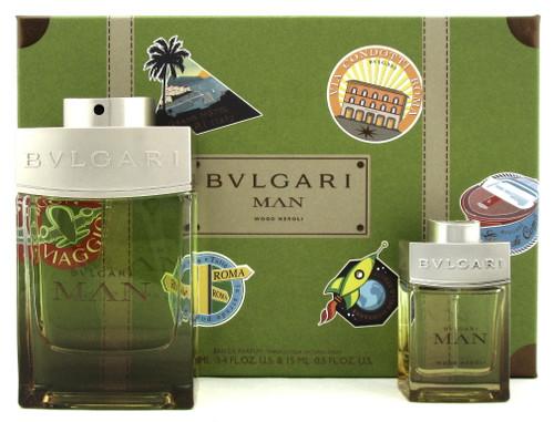 Bvlgari MAN WOOD NEROLI 3.4 oz. + 15 ml. Eau de Parfum Spray. New Men's Set