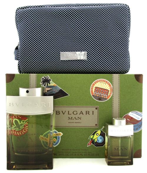 Bvlgari MAN WOOD NEROLI 3.4oz & 15ml Eau de Parfum Spray + Pouch. New Men's Set