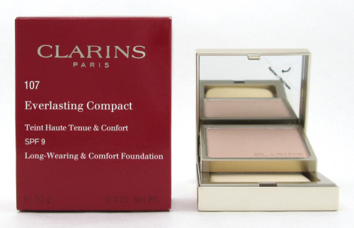 Clarins Everlasting Compact Foundation SPF 9  # 107 Beige 10 g./ 0.3 oz. New