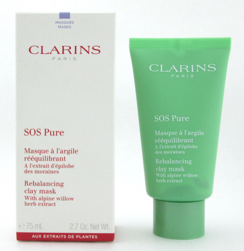 Clarins SOS Pure Rebalancing Clay Mask with alpine willow herb extract 75 ml./ 2.7 oz. New
