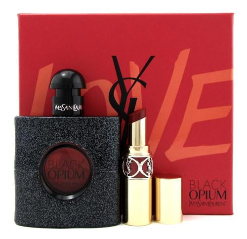 Black Opium by Yves Saint Laurent 1.6 oz EDP Spray + Lipstick. New Set for Women