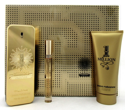 1 Million Parfum by Paco Rabanne 3.4oz.&10ml. Parfum Spray+3.4oz.Sh/Gel.New Set
