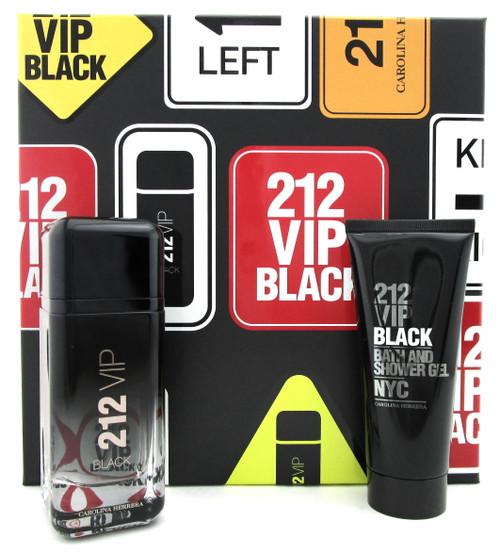 212 VIP BLACK by Carolina Herrera 3.4 oz. EDP Spray +3.4 oz. Shower Gel. New Set