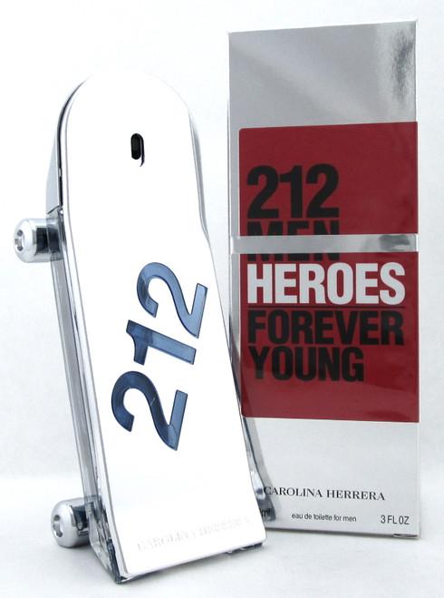 212 Men Heroes Forever Young by Carolina Herrera 3.0oz EDT Spray. New DAMAG. Box