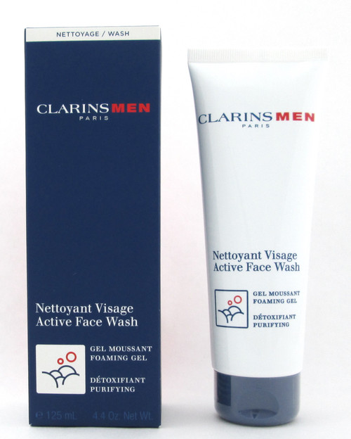 Clarins Men Active Face Wash Foaming Gel Purifying Sealed Tube 125 ml./ 4.4 oz. New