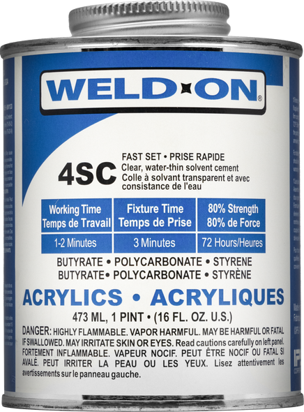SCIGRIP IPS Weld-On #4SC - Low VOC Fast Set Solvent Cement For Acrylics