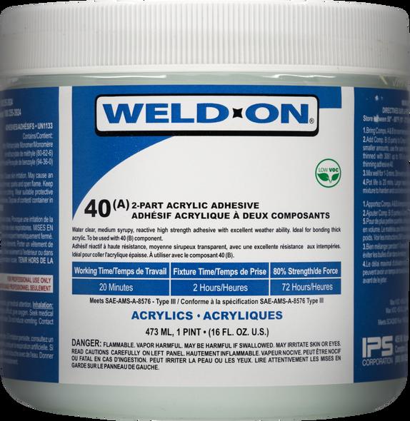 SCIGRIP IPS Weld-On #40 - Low VOC Acrylic Plastic Adhesive 2-Part Kit