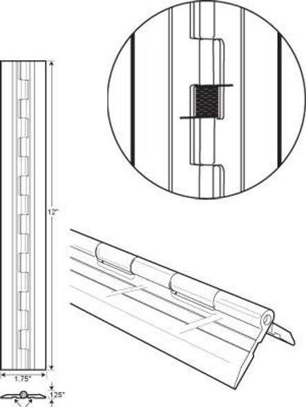 "Acrylic Spring Loaded Hinge - 1-3/4"" x 12"""